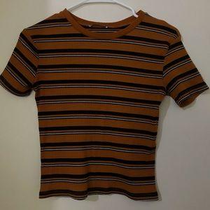Zara burnt orange striped top